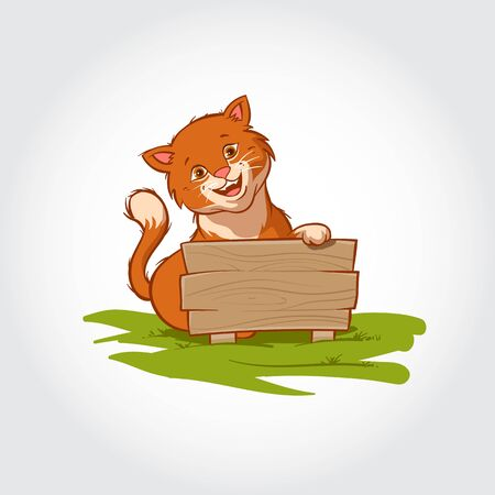 Cat Mascot Cartoon Character. Vector illustration of this cat standing behind a wooden board and smiling.