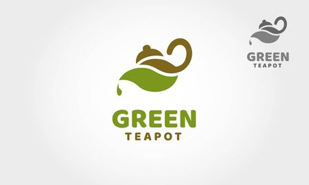 Green TeaPot Vector Logo Template. A nice of drinking product related illustration, logos or packaging designs, eco community, spa and wellness center, life coach, yoga class etc. Vectores
