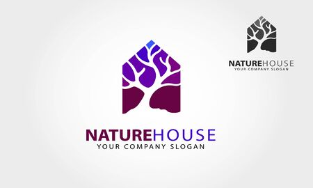 Nature House Vector Logo Template. Simple and elegant identity illustration that symbolizes the impression dynamic of color, peaceful, clean, and natural.This logo for property related business. Vectores