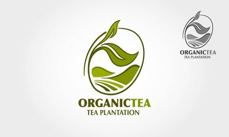 Organic Tea Plantation Vector Logo Template. A nice of tea related illustration that may use for logos or packaging designs.