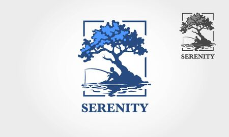 Serenity Vector Logo Template. This logo illustration depicts someone who is fishing under a tree by the lake to find peace.