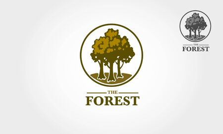 The Forest Vector Logo Illustration. Forest Logo Template is stylish, natural growth and life power. Vectores