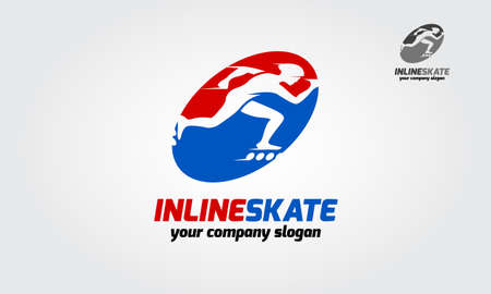 Inline skate sport logo template. The logo is very simple and clean. Roller skate sport activity.