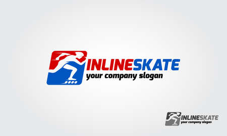 Inline skate sport logo template. Logo of a stylized inline skate player in motion.