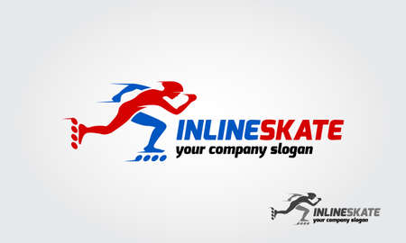 Inline skate sport logo template. The logo is very simple and clean.