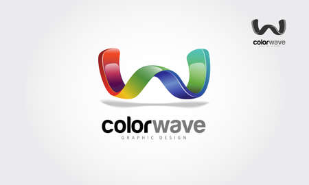 Color Wave Graphic Design Vector Logo Template. Creative 3D abstract vector logo design with shinny effect. this object look like wave or letter of W put on white background.