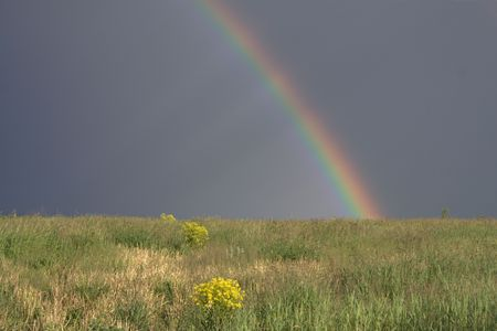 sky meadow rainbow Stock Photo - 2025298