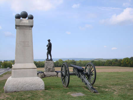 Monuments at Gettyburg Battlefield Stock Photo