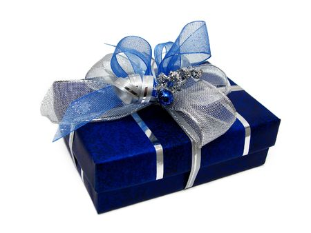 Blue gift box with silver ribbon on a white background