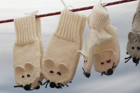 Funny wool mittens hanging on clothesline