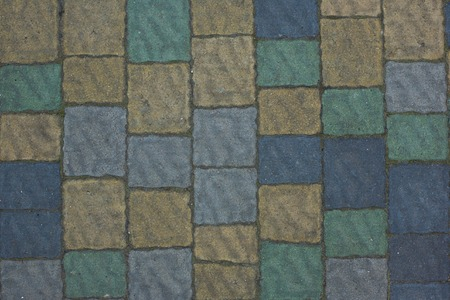 structured: Renew multi-colored Stone paving texture. Abstract structured background of modern street pavement slabs pattern