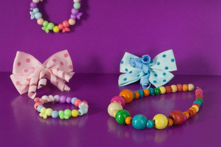 fasten: Various elastic bands, hair clips, beads, bows for girls Stock Photo