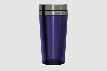 insulated: Thermo mug made of stainless steel, purple, isolate on white Stock Photo