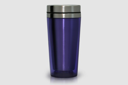 Thermo mug made of stainless steel, purple, isolate on white Archivio Fotografico
