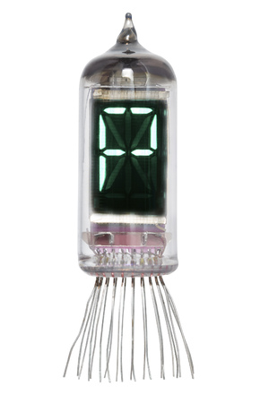 The real Nixie tube indicator of the alphabet of retro style, isolated on white background. Display with green backlight. Letter P.