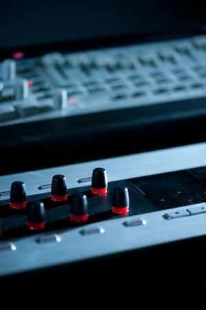 electronica: Electronic music machines with knobs and sliders Stock Photo