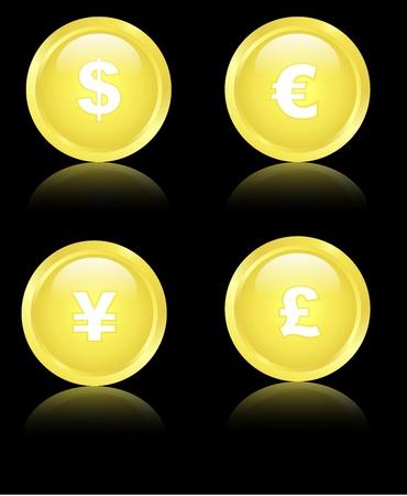 Golden Financial Icons Vector