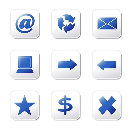 Set of nine blue web icons on grey buttons Illustration