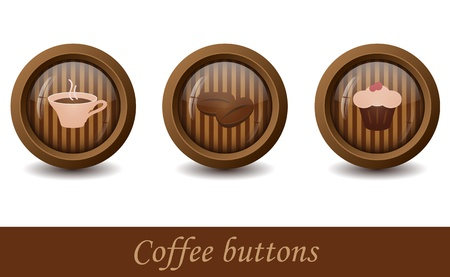 Set of three buttons with signs on striped background Vector