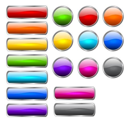 Set of colored buttons in the shapes of rounded rectangle and circle