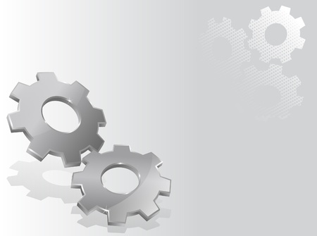 Illustration with two 3d gears Vector