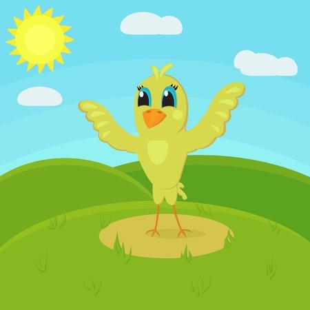 cute little bird in the meadow Vector