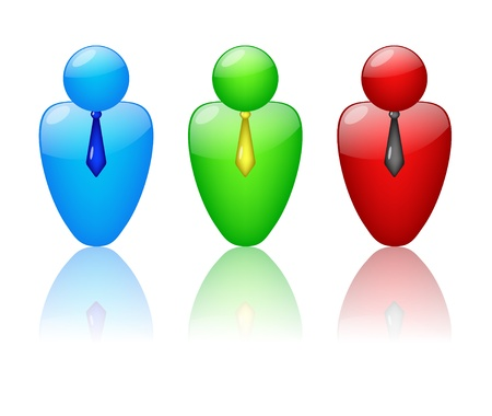 Set of three icons of people with ties