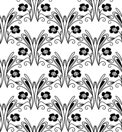 Seamless pattern with black flowers and swirls on white background Stock Vector - 14242054