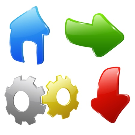 Set of four colored web icons Vector