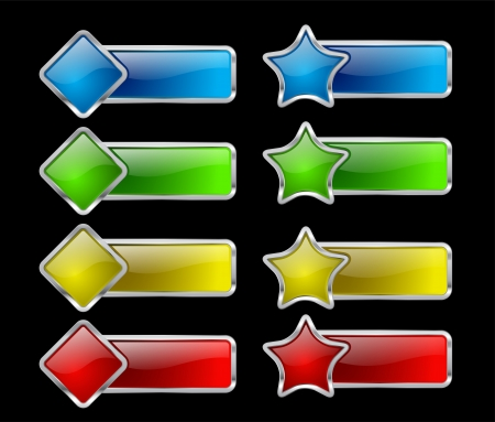 Set of colored glow buttons on black background Vector