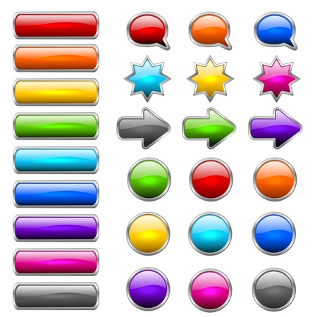 rounded rectangle: Set of colored buttons in the shapes of rounded rectangle, circle, star, arrow and bubble speech