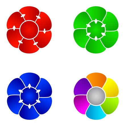 flower clip art: Templates of organization charts in the shape of a flower