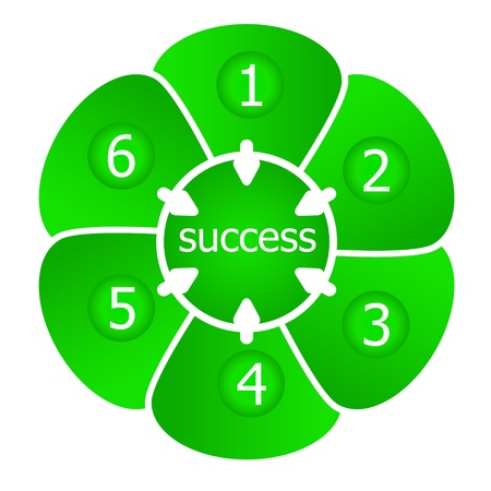 presentation successuful result of six steps Vector