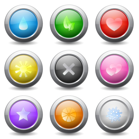 Set of colored round buttons with  signs and wavy reflections Stock Vector - 16183662