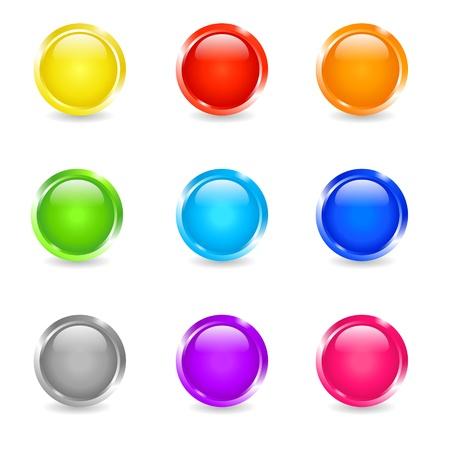 esfera: Conjunto de cor rodada brilho bot Ilustração