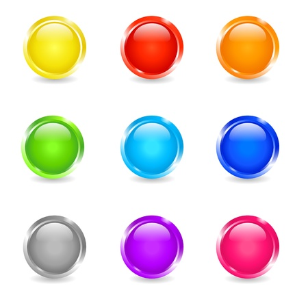 blue sphere: Set of colored round glow buttons