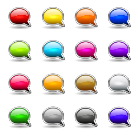 Set of colored buttons in the shapes of  bubble speech Vector