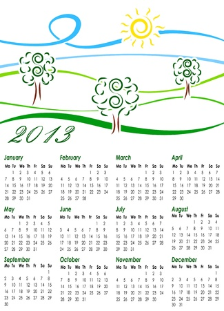 Calendar for 2013 with illustration of summer landscape Vector