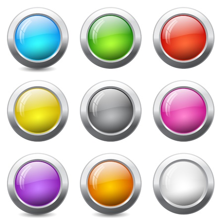 Set of colored round buttons with wavy reflections Vector