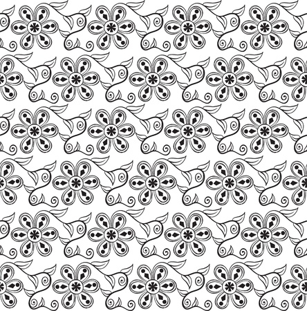 Seamless pattern with original black flowers on white background Vector