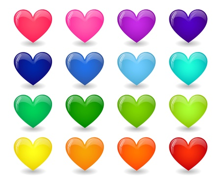 Set of colored icons of glossy hearts Vectores