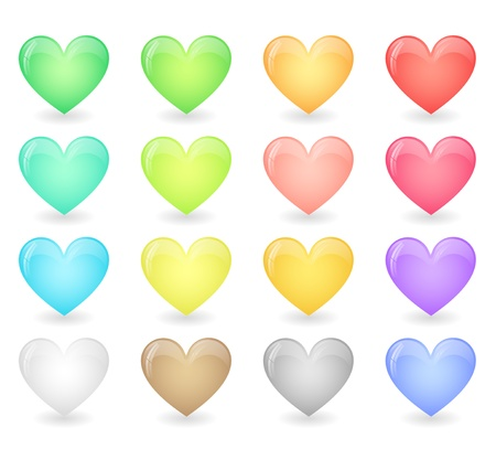 Set of glossy hearts in pastel colors Vector