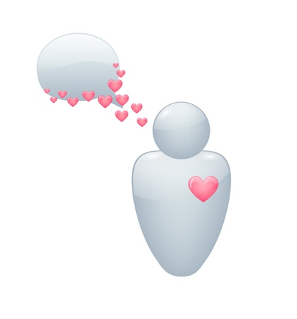3d icon with abstract man silhouette, speech bubble and hearts Stock Vector - 17439651