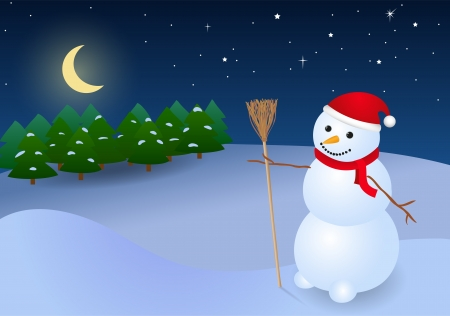 snowbank: Background with snowman in red cap and night sky Illustration