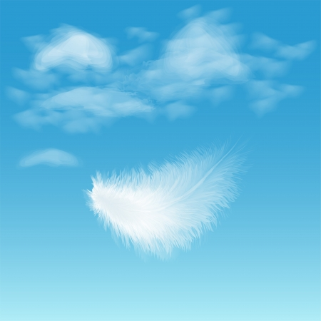 Illustration of white fluffy feather on background of blue sky with clouds