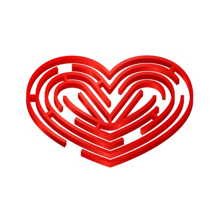 Illustration of 3d labyrinth in the shape of red heart Illustration