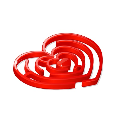 Illustration of 3d glossy labyrinth in the shape of red heart Vector