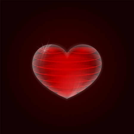 paramour: Illustration of glass 3d heart within the red layers Illustration