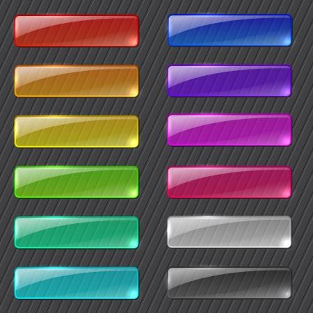 Set of colored transparent rectangle web buttons on dark background Illustration