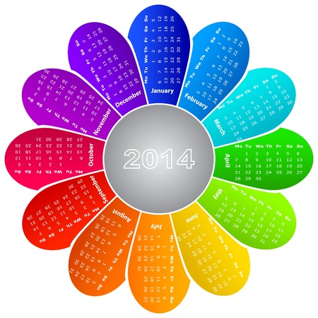 2014 calendar on rainbow flower background Vector